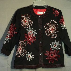 ALFRED DUNNER women's jacket petite 8 blk red wht